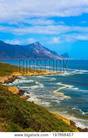 The place where two oceans - Atlantic and Indian meet. Mysterious South Africa. Journey to the southern edge of the world. The concept of extreme and exotic tourism