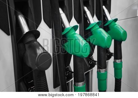 Fuelling nozzles at gas station