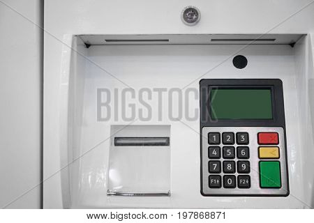 Self-service terminal at gas station, closeup