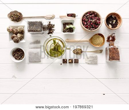 Collection of tea and measurements, copyspace, topview