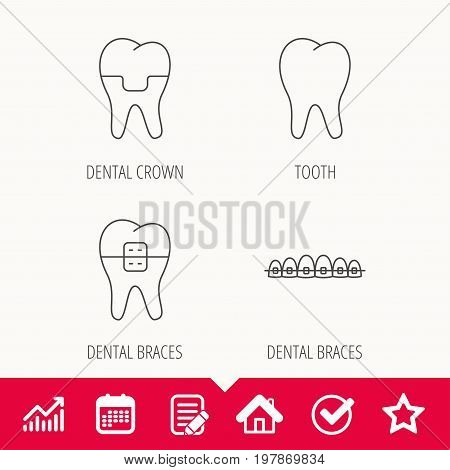 Dental crown, braces and tooth icons. Stomatology linear sign. Edit document, Calendar and Graph chart signs. Star, Check and House web icons. Vector