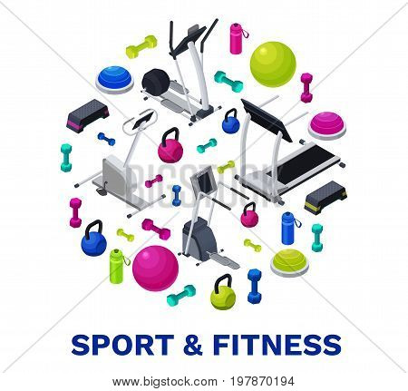 Isometric fitness poster with vector icons of sports equipment, colorful background with dumbells, platforms, bosu ball or half ball, bottle, set of workout accessories, template for flyer, banner
