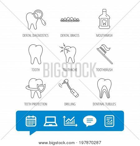 Tooth, dental braces and mouthwash icons. Diagnostics, toothbrush and toothache linear signs. Dentinal tubules, protection flat line icons. Report file, Graph chart and Chat speech bubble signs