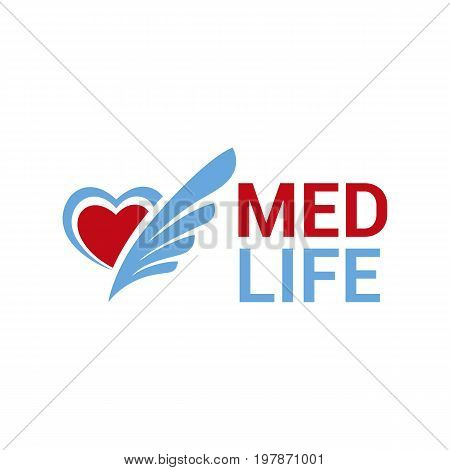 Vector heart logo.Medical symbol of health protection medical care.
