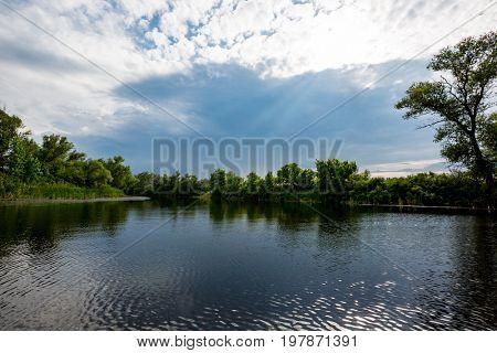 River scene before thunderstorm, take it in Ukraine
