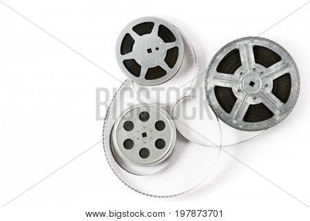 Old film strip isolated on white background. Top view. Copy space.