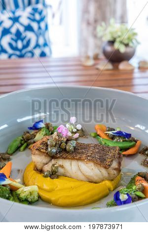 grilled grouper fillet steak with sweet Mashed potato
