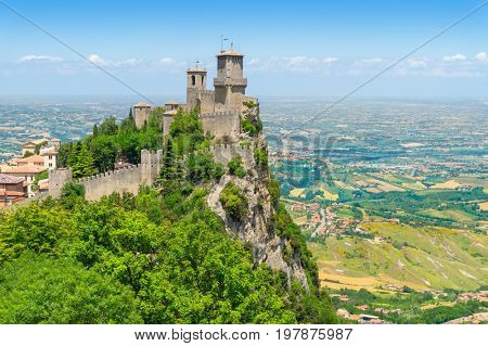 The Guaita fortress on Monte Titano in San Marino. The main of three medieval towers which is symbol of San Marino.