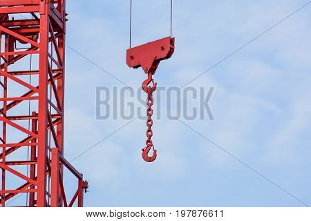 crane tower on sky background at construction site .