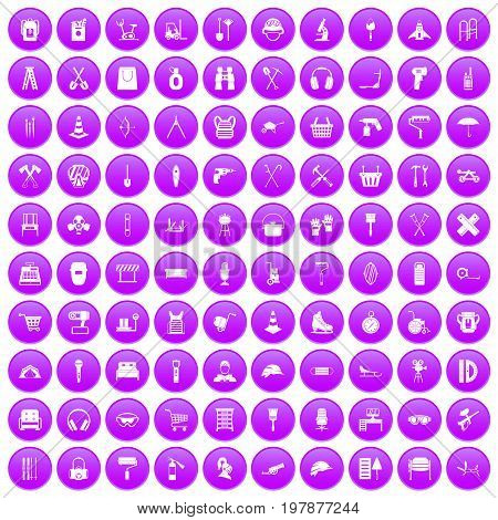 100 outfit icons set in purple circle isolated vector illustration