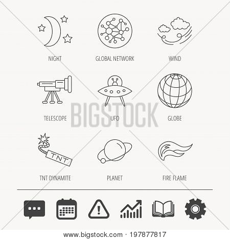 Ufo, planet and telescope icons. World, global network and night linear signs. TNT dynamite, fire flame and wind flat line icons. Education book, Graph chart and Chat signs. Vector
