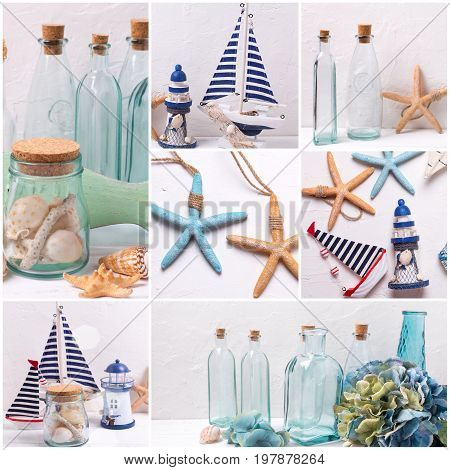 Collage from photos with sea theme or coastal living home decorations. Decorative lighthouse sailing boats bottles flowers and marine items on textured background.