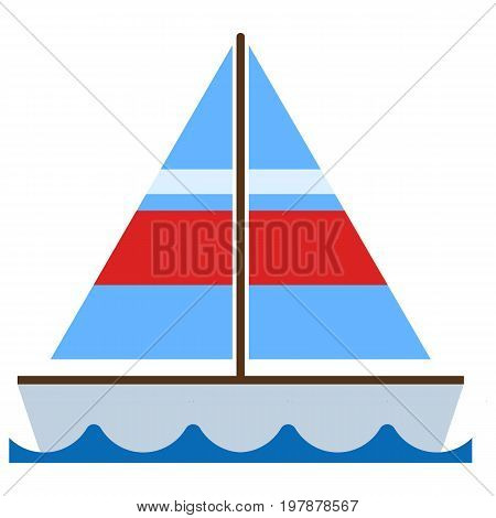 Sailboat icon, vector illustration flat style design isolated on white. Colorful graphics