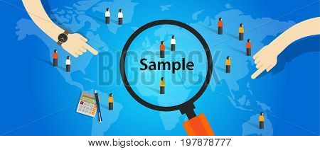 sample from population statistics research survey methodology selection concept vector