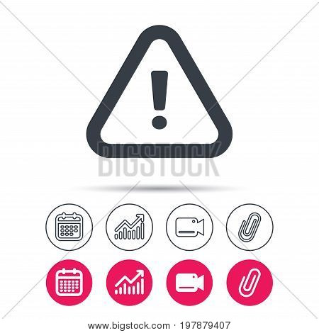 Warning icon. Attention exclamation mark symbol. Statistics chart, calendar and video camera signs. Attachment clip web icons. Vector