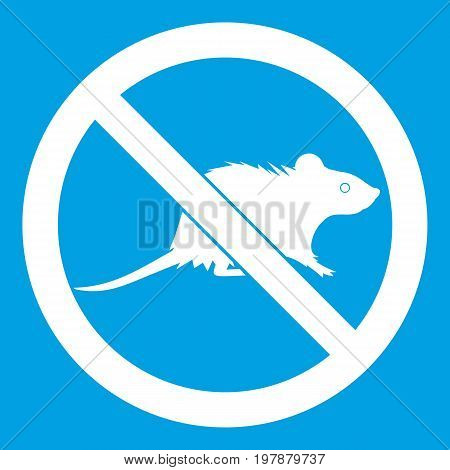 No rats sign icon white isolated on blue background vector illustration