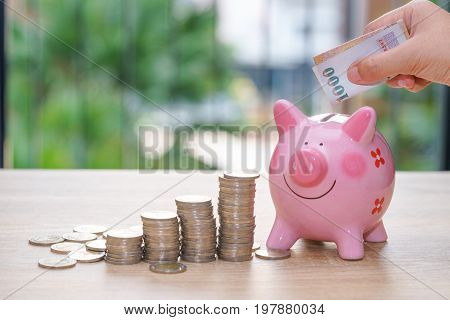 Hand putting one thousand baht into a pink piggy bank with stack coins on wooden desk - save money concept