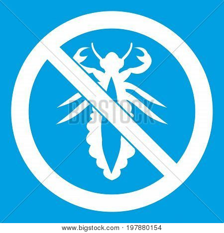 No louse sign icon white isolated on blue background vector illustration