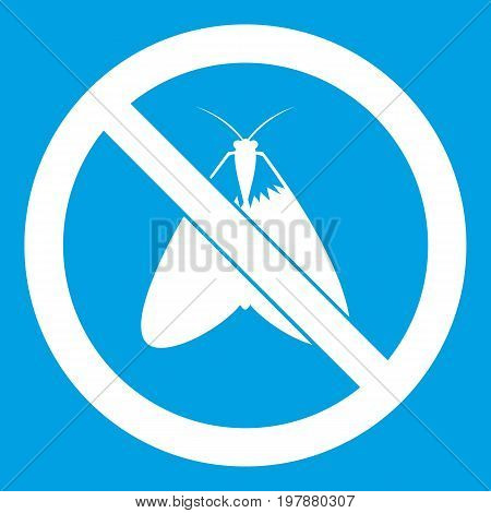 No moth sign icon white isolated on blue background vector illustration