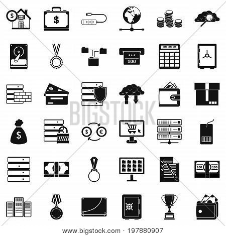 Business target icons set. Simple style of 36 business target vector icons for web isolated on white background