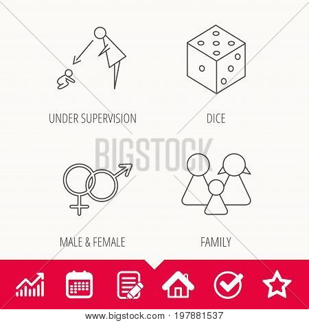 Male, female, dice and family icons. Under supervision linear sign. Edit document, Calendar and Graph chart signs. Star, Check and House web icons. Vector