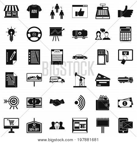 Finance business icons set. Simple style of 36 finance business vector icons for web isolated on white background