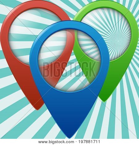 Three color geolocation signs. Geo tags set for geolocation and navigation. Vector illustration EPS10