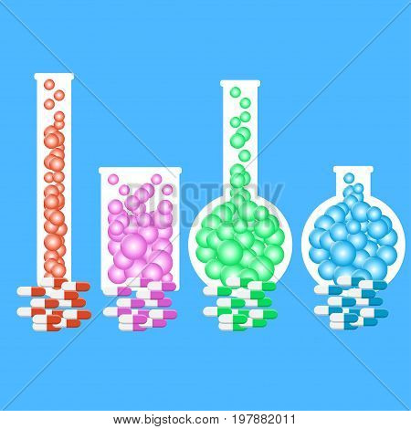 Laboratory glassware or beaker and pills. Vector set of glass flasks with color pills. Vector illustration EPS10