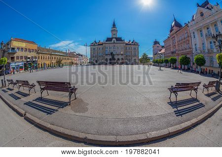 NOVI SAD SERBIA - JULY 30 2017: View of the Liberty Square (Trg. Slobode) with City Hall and old buildings. One of the cities designated as the European capital of culture in 2021.