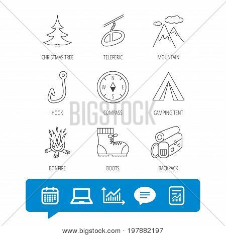 Mountain, fishing hook and hiking boots icons. Compass, backpack and bonfire linear signs. Camping tent, teleferic and christmas tree icons. Report file, Graph chart and Chat speech bubble signs