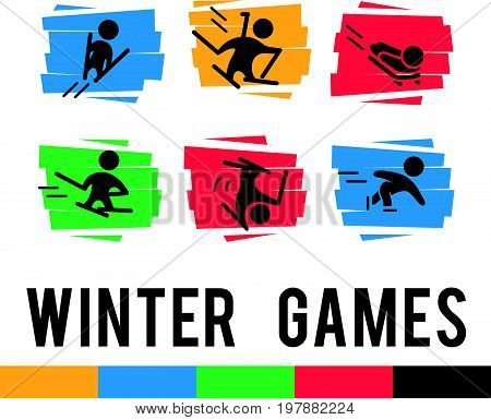 Vector collection of flat sport icons isolated on colorful abstract backgrounds. Winter sports illustration. Athlete figures. Active lifestyle, season activities. Competition sign and symbol.
