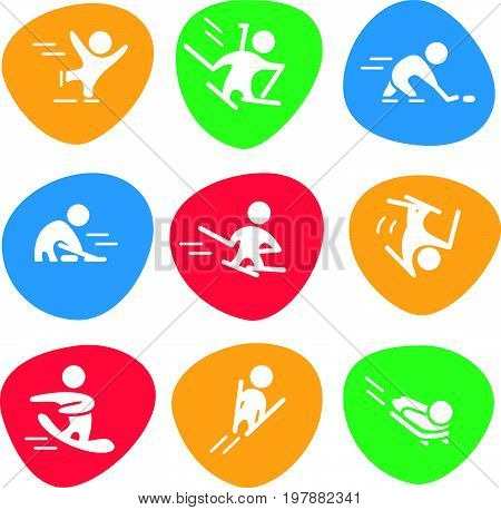Vector collection of flat white sport icons isolated on colorful backgrounds. Winter sports activities. Athlete silhouettes. Active lifestyle. Competition sign and symbol.