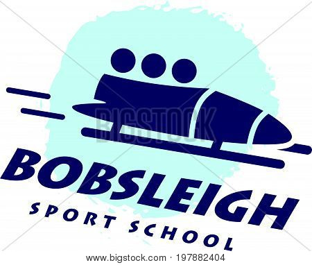 Bobsleigh school emblem. Winter sport logotype. Vector flat simple logo design isolated on white background. Human active sport athlete figure silhouette.