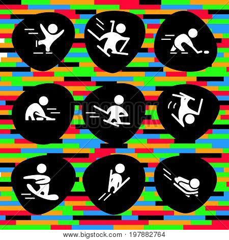 Vector collection of flat white sport icons isolated on colorful and black background. Winter sports activities. Athlete silhouettes. Active lifestyle. Competition sign and symbol.