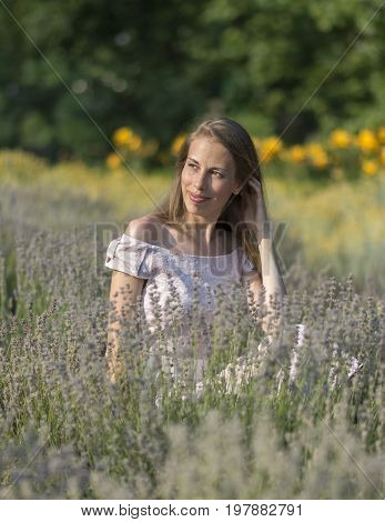 Beautiful woman in sunny day wearing pink dress and sitting in fresh lavander field, enjoying beauty of nature. Stock photo
