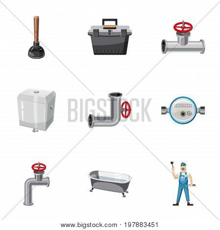 Plumber kit icons set. Cartoon set of 9 plumber kit vector icons for web isolated on white background