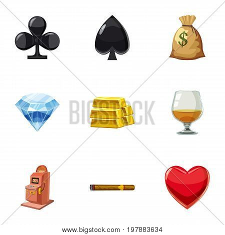 Win in the casino icons set. Cartoon set of 9 win in the casino vector icons for web isolated on white background