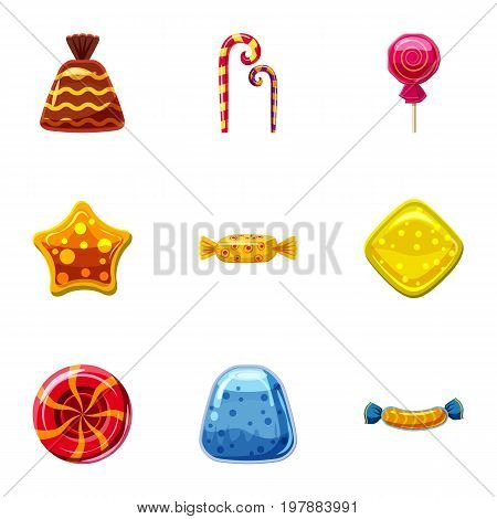 Sweets icons set. Cartoon set of 9 sweets vector icons for web isolated on white background