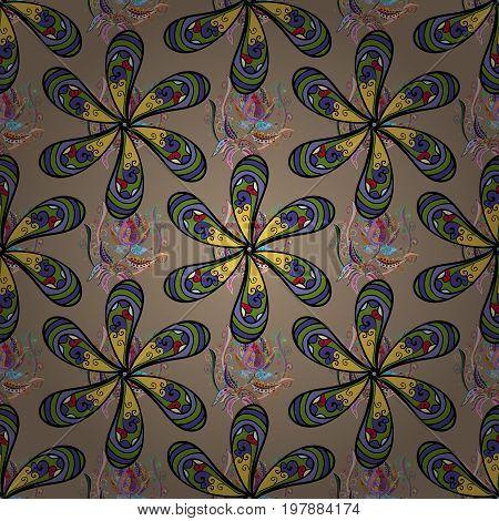 Vector flower illustration. Seamless pattern with floral motif. Seamless floral pattern with blue flowers watercolor.