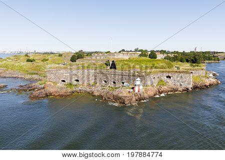 Walls of Sumenlinna fortress in Helsinki Finland