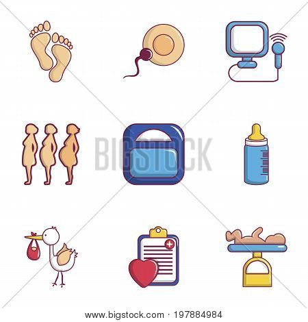 Medicine and pregnancy icons set. Flat set of 9 medicine and pregnancy vector icons for web isolated on white background