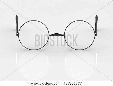 3d rendering. spectacles glasses with reflection on the white ground