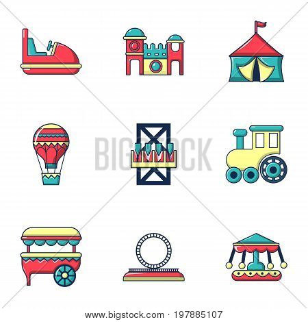 Entertainment for children icons set. Flat set of 9 entertainment for children vector icons for web isolated on white background