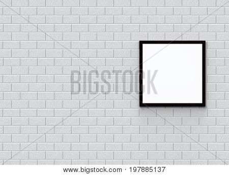 3d rendering. A blank white mock up template with white blick wall as background.