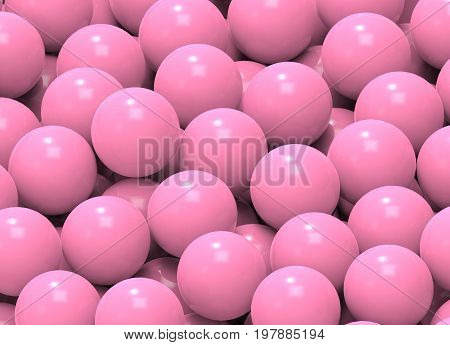 3d illustration. Pink child play circle balls in the pool