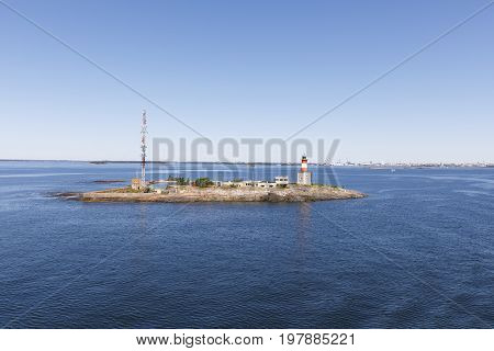 Beacon and communication tower on an island in Finland