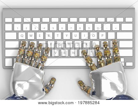 3d rendering. hands of artificial intelligence or AI are typing on a keyboard. replace human to working in the future concept.