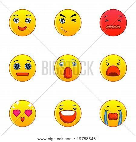 Emoticons or smileys icons set. Flat set of 9 emoticons or smileys vector icons for web isolated on white background