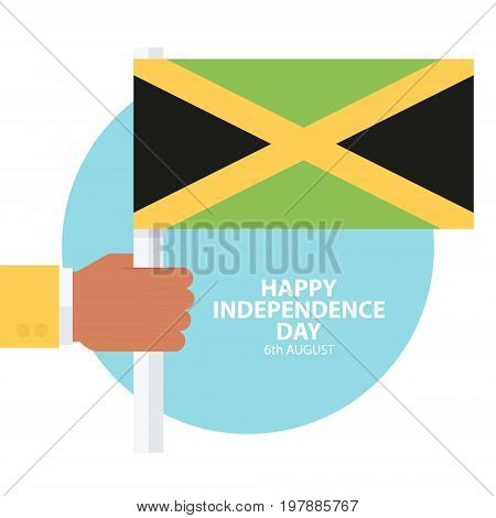 Jamaica Happy Independence Day, 6 august celebration card with hand holding jamaican flag. Flat design vector illustration.