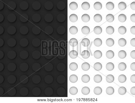 3d illustration. white concave circle buttons and black convex buttons wall background